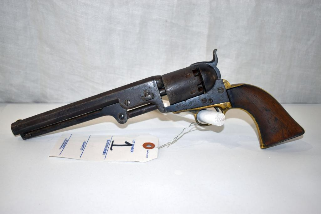 colt-1851-navy-percussion-revolver-sn-23563-pitting-on-barrel-cylinder-and-receiver-bore-needs-cleaning