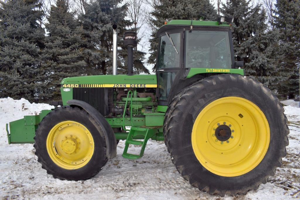 john-deere-4450-mfwd-9122-hours-18-4r46-axle-duals-14-9r34-front-tires-with-fenders-new-style-step-hid-lights-3-hydraulic-3pt-qh-540-1000pto-15-speed-power-shift-14-suitcase-weights-rock-bo