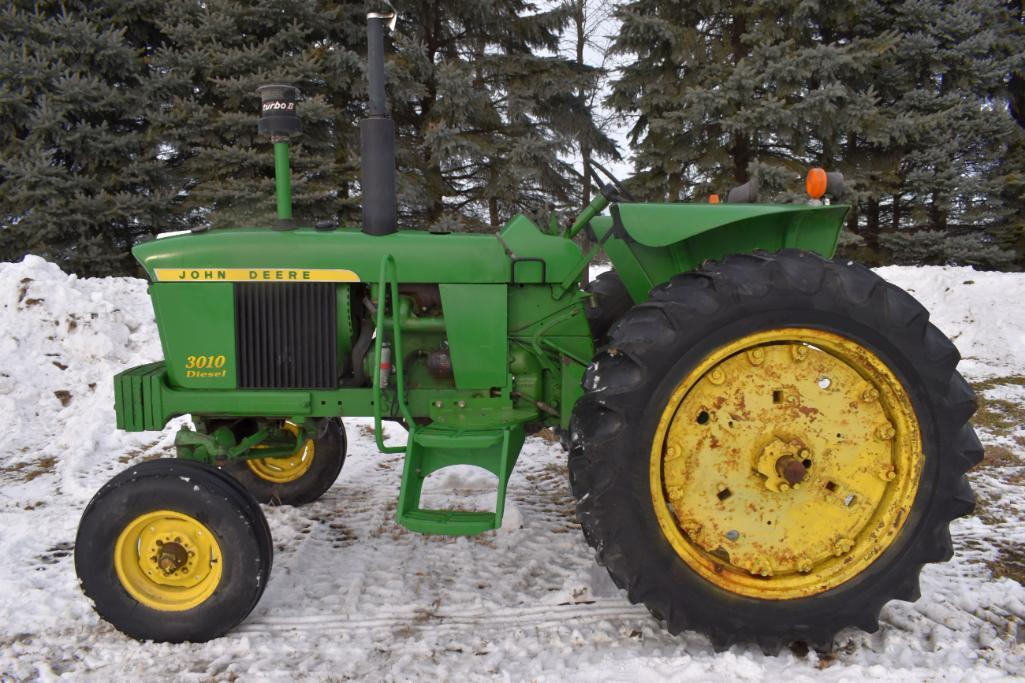 john-deere-3010-diesel-open-station-one-owner-1379-hours-showing-4-slab-weights-540pto-3pt-2-hydraulic-syncro-flat-top-fenders-actual-hours-unknown-sn-0101138409