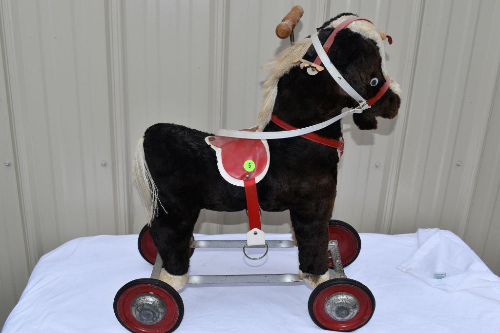 childrens-stuffed-riding-pony-pull-toy