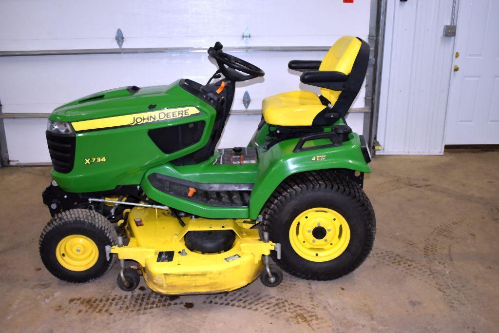 john-deere-x734-garden-tractor-4-wheel-steer-60-mower-deck-403-one-owner-hours-hydraulic