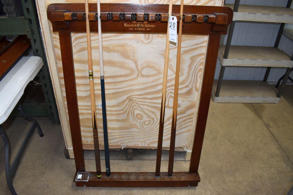vintage-brunswick-balke-collender-billiards-wall-mount-cue-stick-holder-with-cues-believed-to