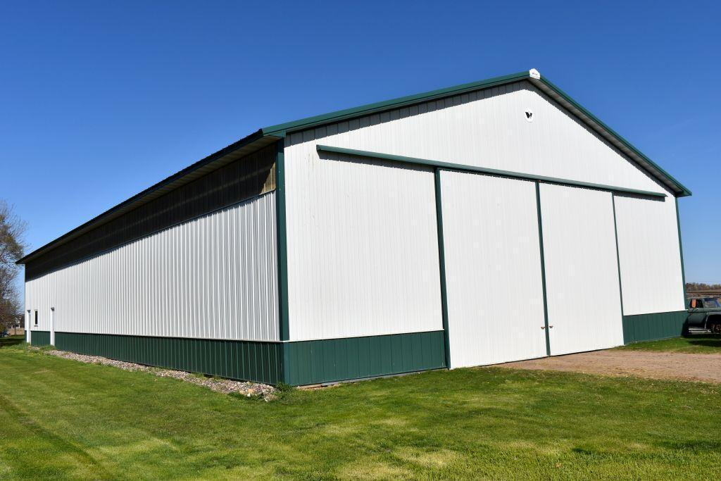 2007-wick-pole-shed-54-x-108-x-16-with-24-sliding-doors-trusses-are-bolted-white-green