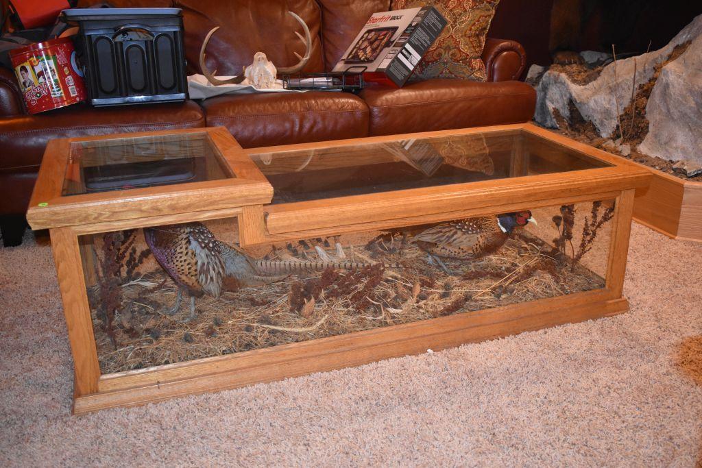 custom-oak-glass-coffee-table-with-double-pheasant-mounts-side-glass-has-cracks