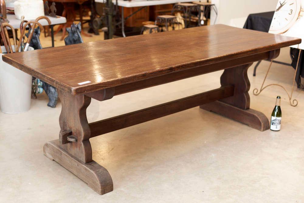 Wandplank 30 Diep.Spanish Style Oak Trestle Table Vogt Auction