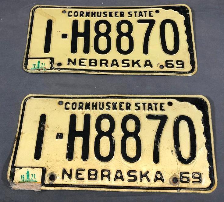 1969-nebraska-license-plates-matched-pair