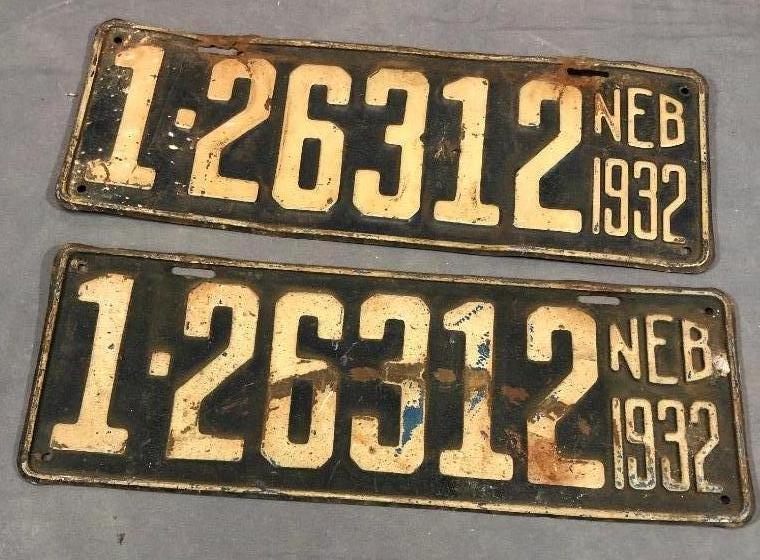1932-nebraska-license-plates-matched-pair