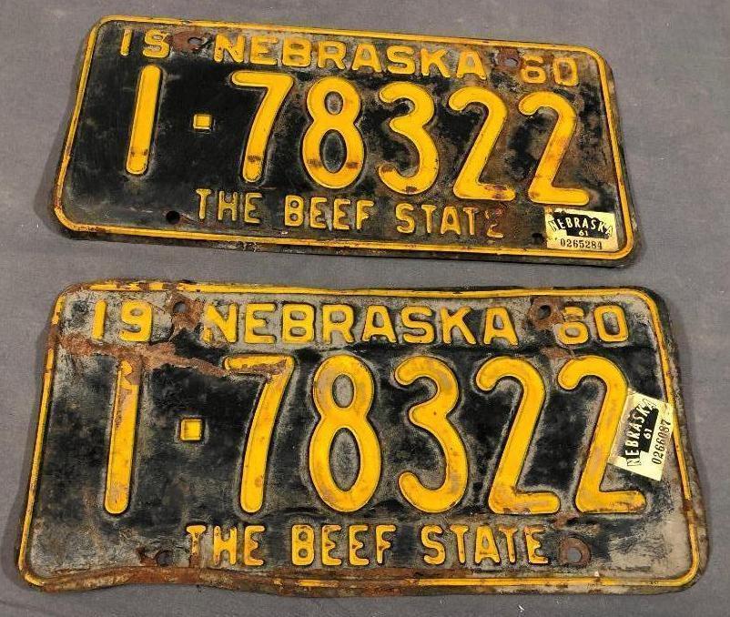 1960-nebraska-license-plates-matched-pair