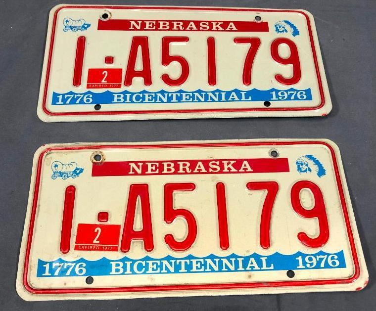 1976-bicentennial-nebraska-license-plates-matched-pair