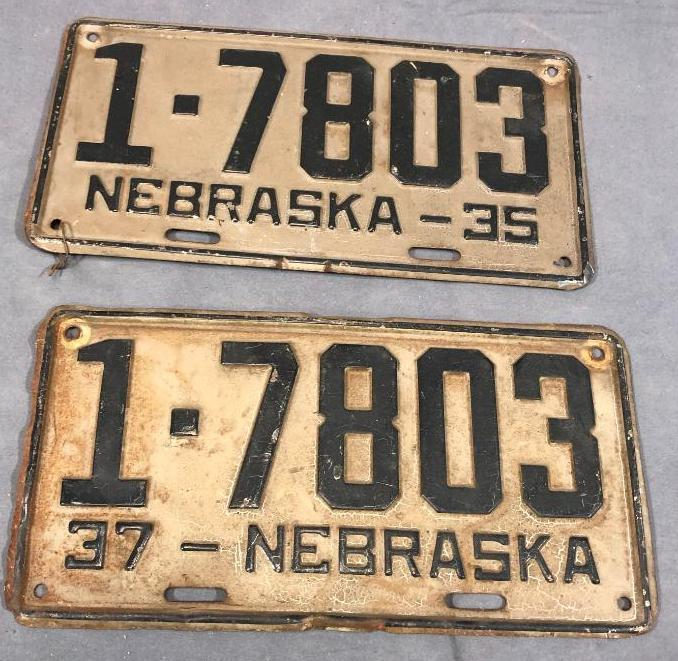 1937-1935-nebraska-license-plates-matched-numbers-2-different-years