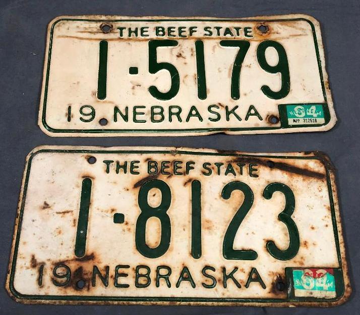 1957-nebraska-license-plates-not-matched-pair