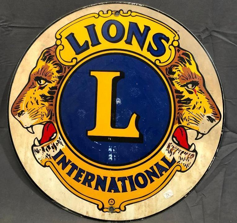 lions-international-vintage-sign-round-metal-18in-one-sided-great-graphics