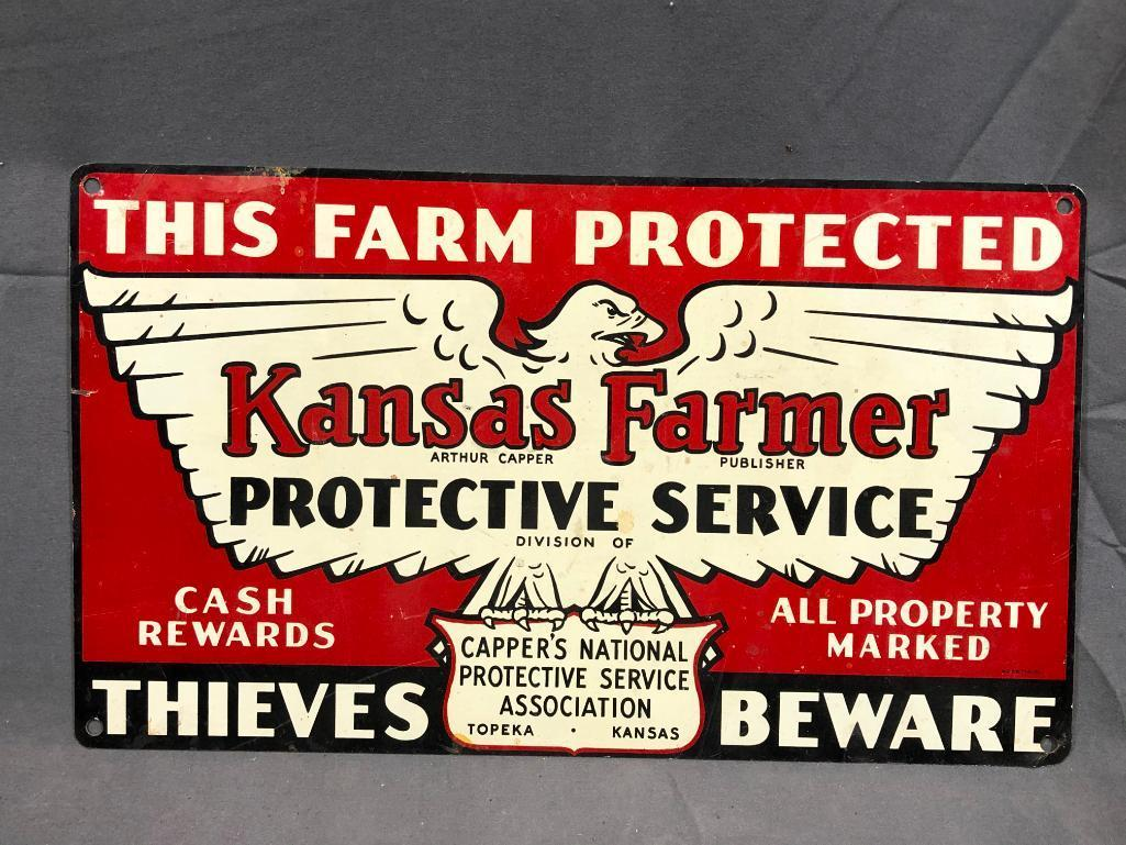 kansas-farmer-protective-service-thieves-beware-vintage-tin-sign-13-5in-x-8in-one-sided