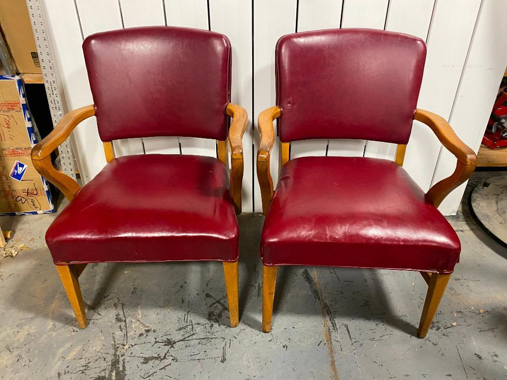 lot-of-2-solid-wood-w-red-vinyl-upholstery-side-chairs