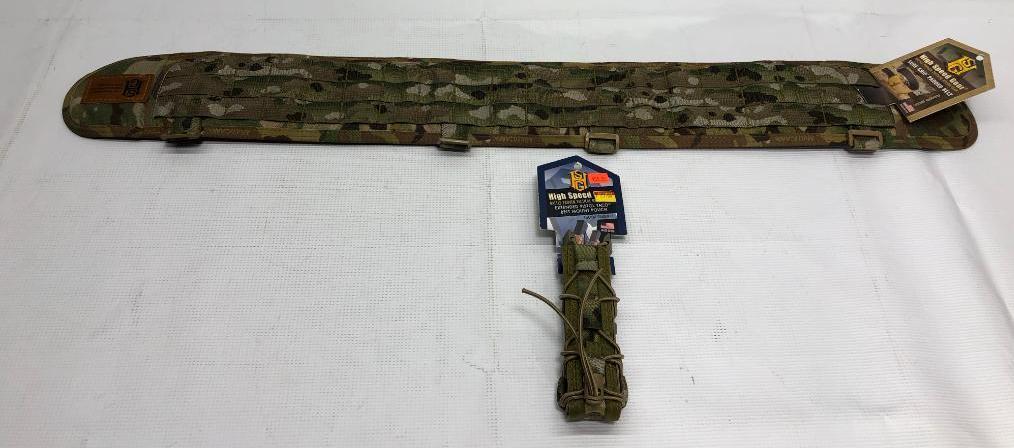 lot-of-2-items-1-high-speed-gear-sure-grip-padded-medium-belt-1-high-speed-gear-extended-pistol-taco-belt-pouch-mount
