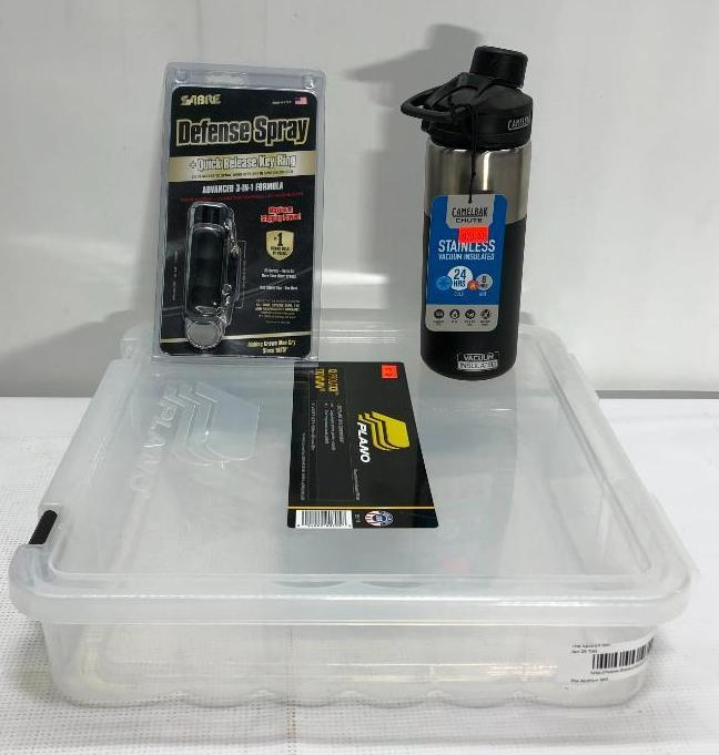 lot-of-3-items-1-plano-xl-prolatch-stowaway-storage-box-1-sabre-defense-spray-w-quick-release-key-ring-1-black-camelback-bottle