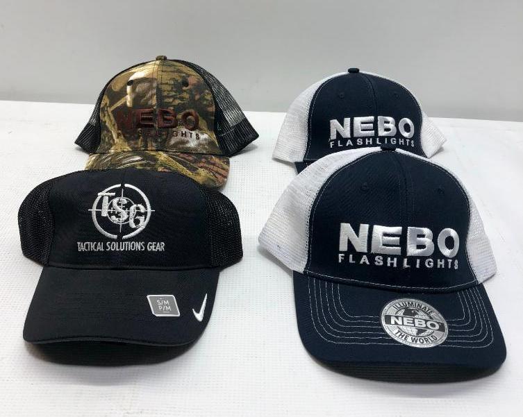 lot-of-4-new-trucker-hats-nike-tsg-hat-3-nebo-flashlight-hats