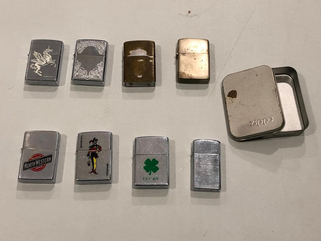 lot-of-8-zippo-cigarette-lighters-and-one-case