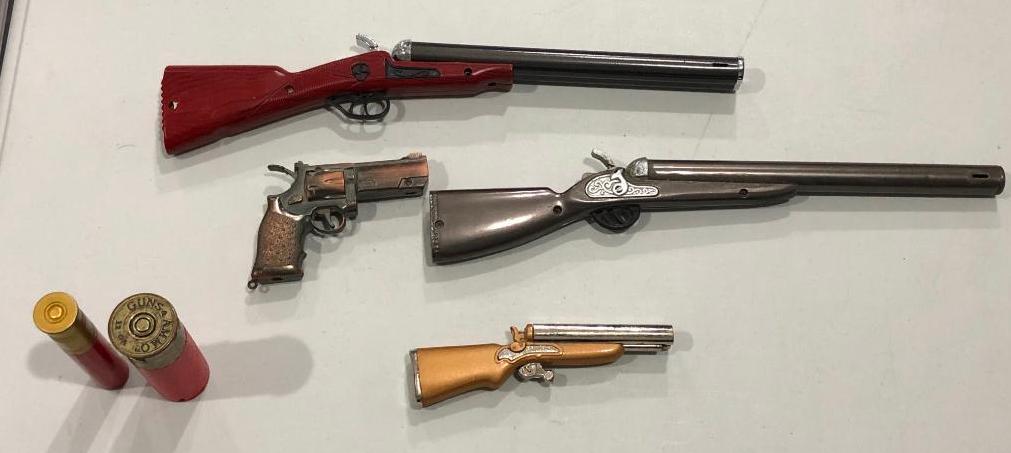 lot-of-5-firearms-hunting-cigarette-lighters-2-pistols-2-shot-guns-2-shells