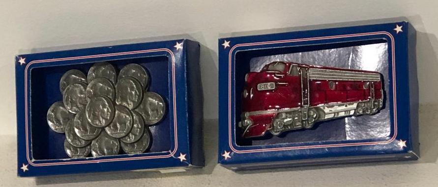lot-of-2-great-american-belt-buckles-1981-1986-train-and-buffalo-nickels
