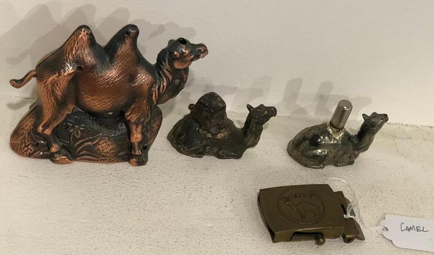 4-camel-cigarette-advertising-items-3-brass-or-metal-lighters-1-belt-buckle
