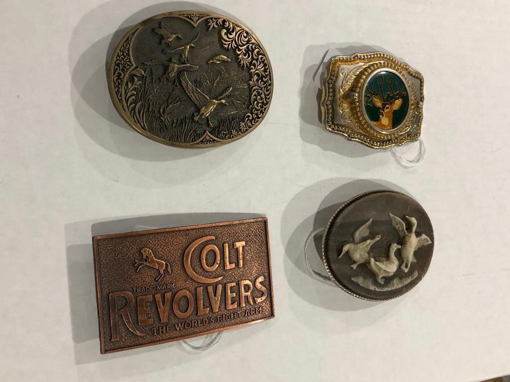 lot-of-4-belt-buckles-colt-revolver-solid-brass-3-hunting-related-deer-ducks