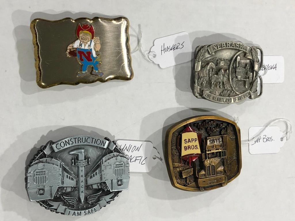 4-nebraska-belt-buckles-union-pacific-cornhuskers-sapp-bros-and-nebraska-heartland