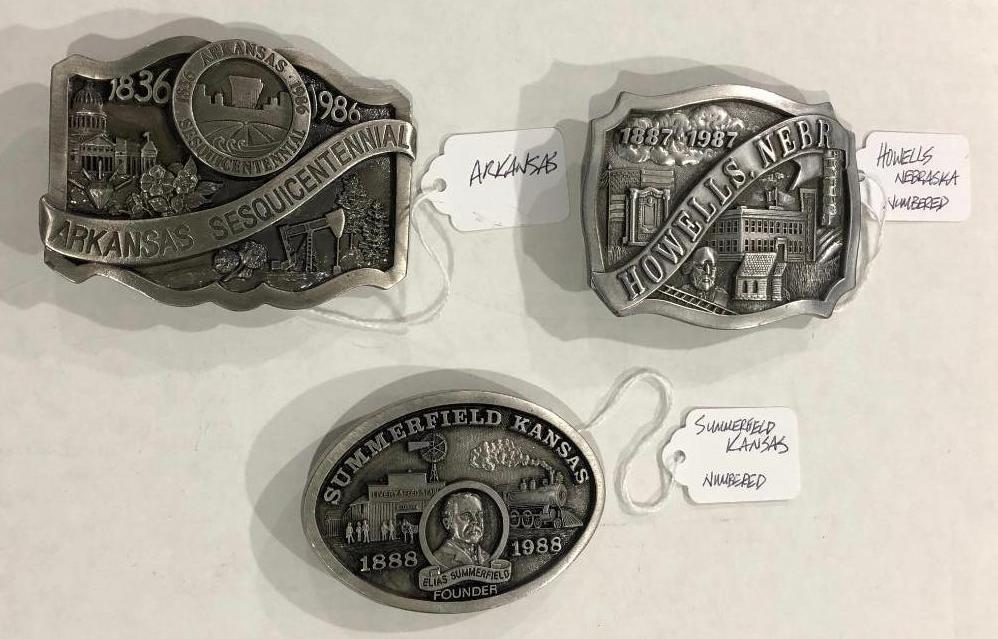 lot-of-3-belt-buckles-signed-numbered-howells-nebr-summerfield-kansas-arkansas-pewter