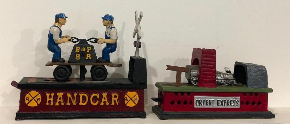 cast-iron-mechanical-banks-bp-rr-handcar-orient-express-reproductions