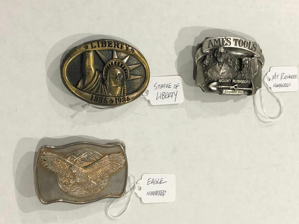 3-belt-buckles-ames-tools-mount-rushmore-statue-of-liberty-american-eagle