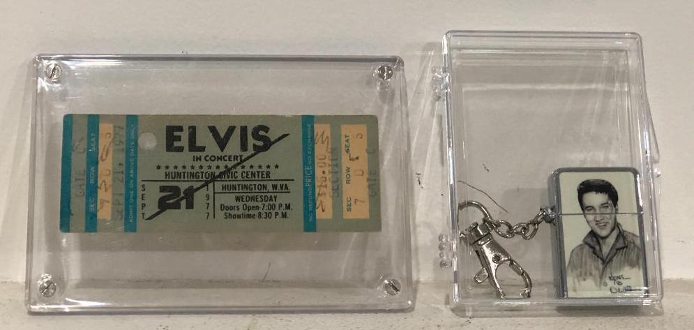1977-elvis-presley-concert-ticket-huntington-wv-elvis-lighter-in-nice-protector-cases