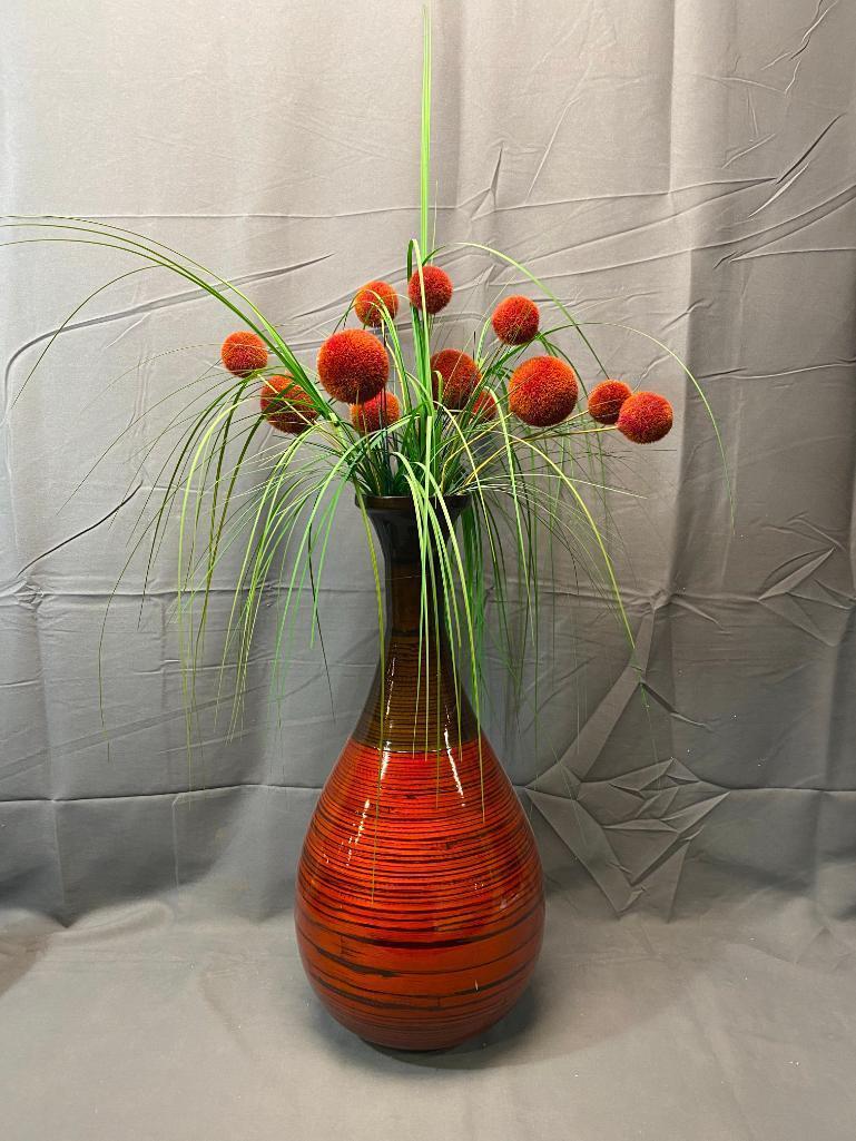 decorative-vase-w-artificial-grass-vegetation-stem-of-vase-repaired-19-5in-vase-27in-floral