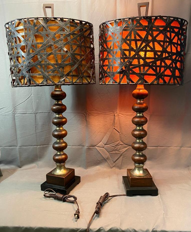 matching-table-lamps-ornate-metal-wood-w-metal-and-canvas-shades-36ini-w-finials