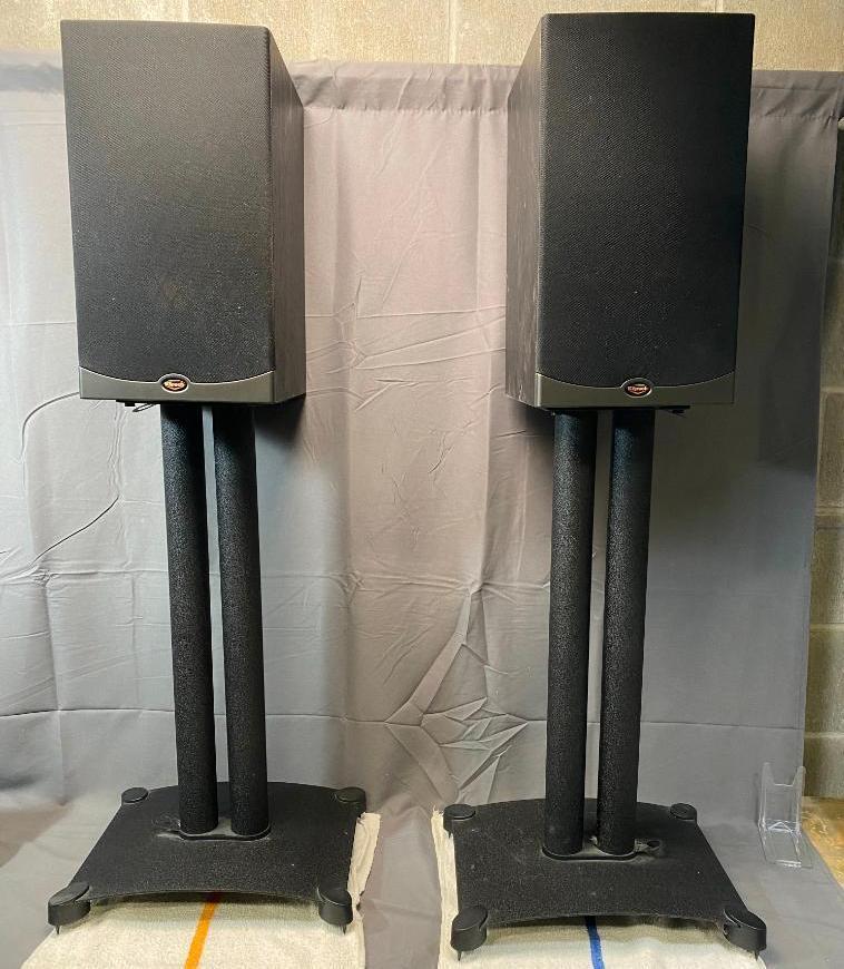 klipsch-ref-iv-rb61-black-speakers-w-matching-stands-100-watt-impedance-8-ohm