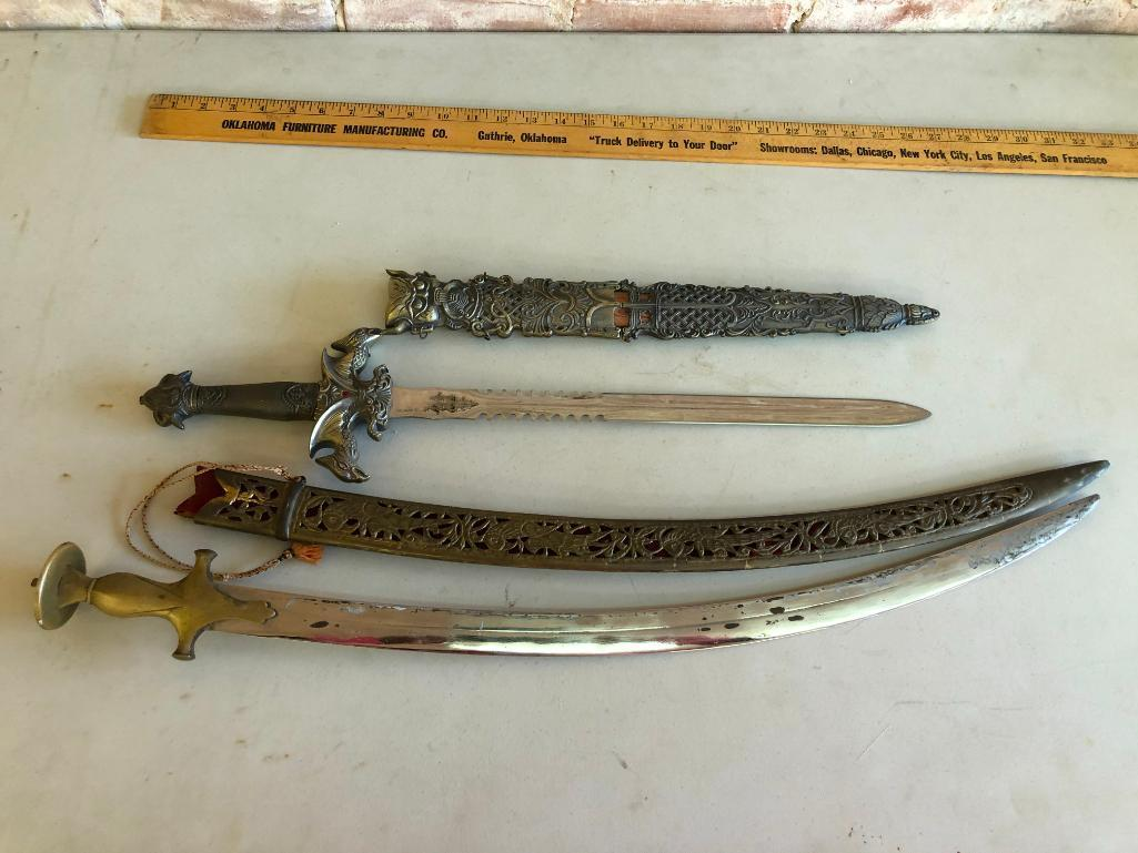 lot-of-2-ornate-modern-swords-w-fancy-metal-sheaths