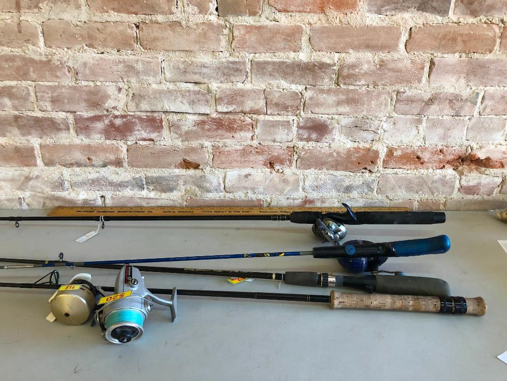 lot-of-4-fishing-rods-and-reels-bait-caster-accurist-pt-daiwa-8450hrl-open-face