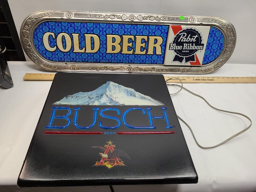 lot-of-2-beer-advertising-lights-busch-working-pabst-blue-ribbon