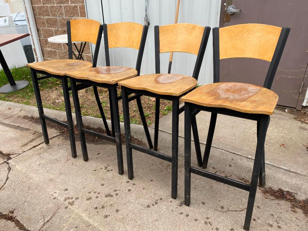 lot-of-4-bar-stools-metal-frames-wooden-seats-and-backs-need-to-be-refinished