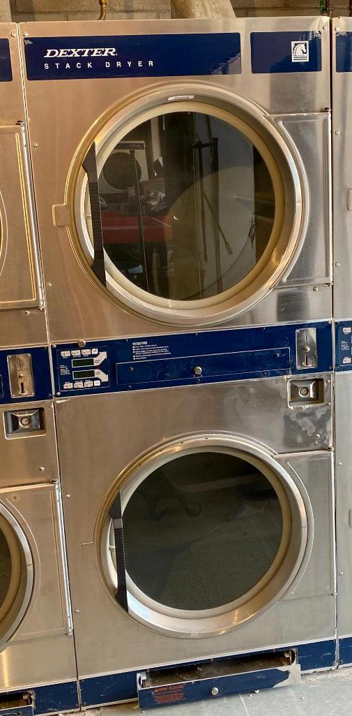dexter-dl2x30qss-30lb-double-stack-commercial-front-load-coin-op-dryers-working