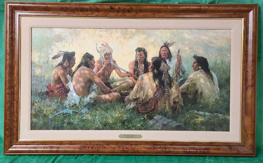 crow-pipe-ceremony-by-howard-terpning-signed-and-numbered-264-975-38-x-19-5-8