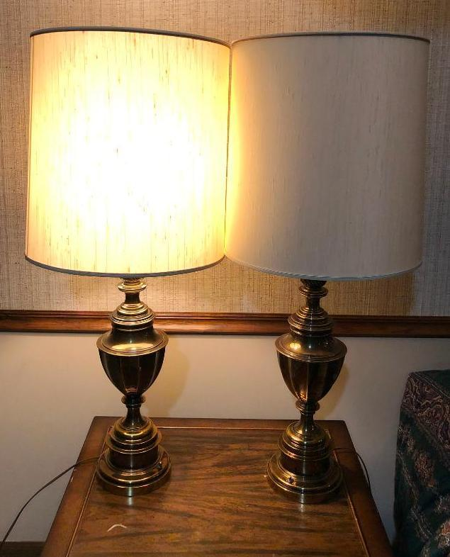 mid-century-modern-brass-table-lamps-w-shades-stamped-1967-mfg-38in-to-top