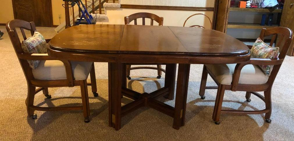 kitchen-table-and-chairs-solid-wood-60in-x-42in-w-leaf-w-rolling-padded-chairs-w-wood-frames