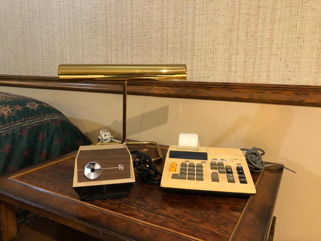 brass-desk-lamp-vintage-pencil-sharpener-and-adding-machine