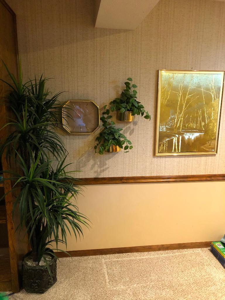 j-hardelin-print-w-brass-looking-wall-clock-and-wall-pockets-and-artificial-plant