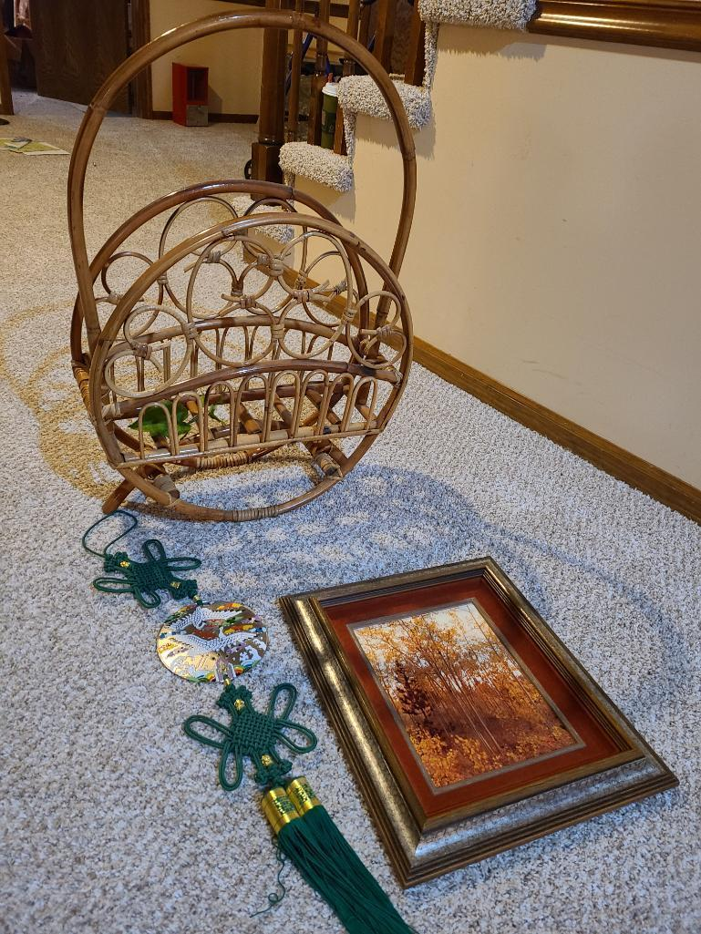 bamboo-magazine-rack-framed-picture-wall-decorations
