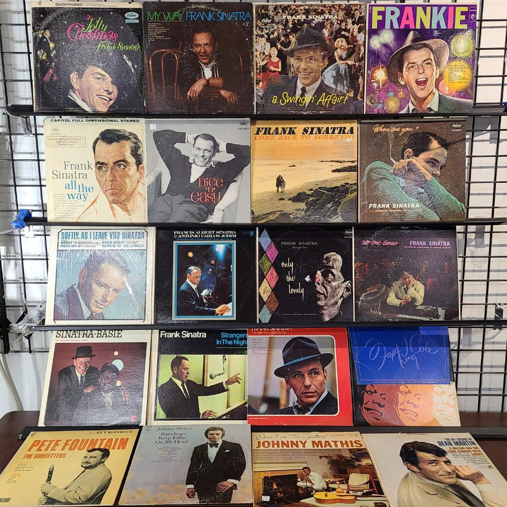 total-of-20-15-frank-sinatra-record-albums-w-dean-martin-nat-cole-king-pete-fountain-johnny-mathis-open-fire-raindrops