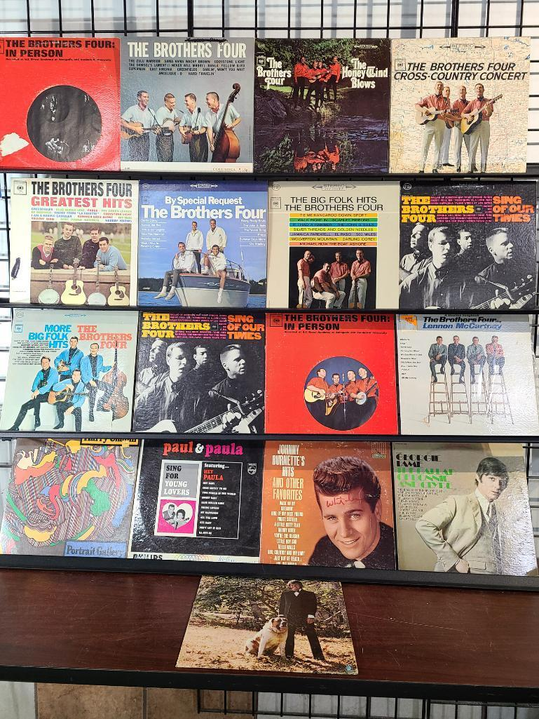 total-of-17-12-the-brothers-four-record-albums-w-harry-chapin-portrait-gallery-paul-paula-sing-for-young-lovers-johnny-burnette-georgie-fame-tommy-roe