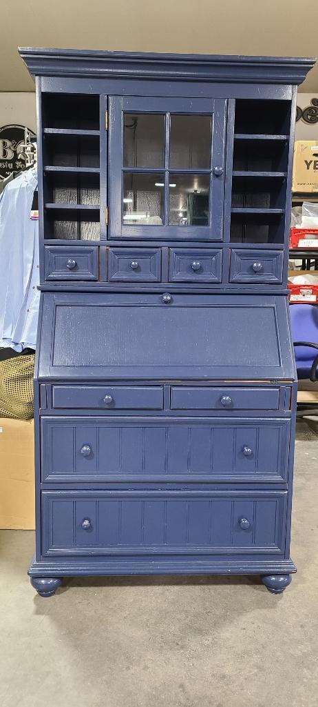 painted-drop-front-secretary-cabinet-combo-desk-chest-of-drawers-china-cabinet