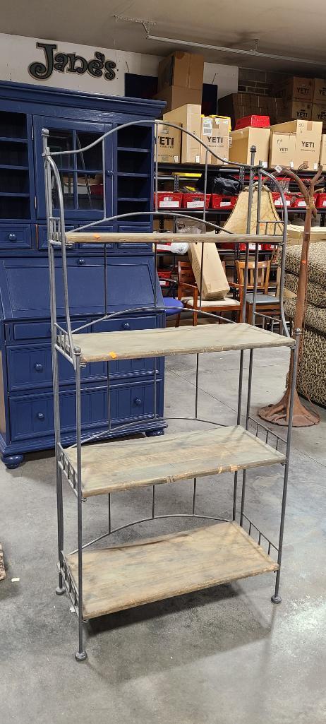 metal-and-wood-folding-bakers-rack-w-4-shelves-iron-frame