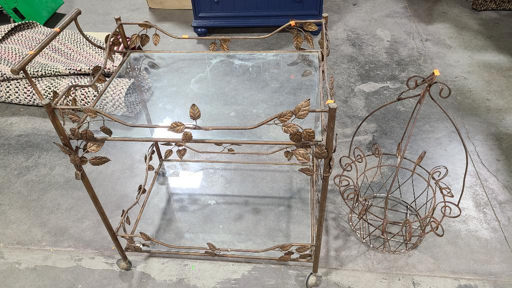 glass-top-metal-frame-drink-cart-and-iron-basket-or-planter